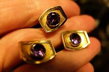 Vintage 18 K Yellow Gold WW  Bezel Set Amethyst  Cuff links Tie Tac No Scrap
