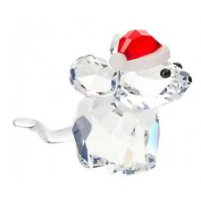 Swarovski Crystal Christmas Figurine MOUSE WITH SANTA'S HAT #5135858 New