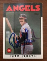 BOB GRICH 1986 TOPPS AUTOGRAPHED SIGNED AUTO BASEBALL CARD 155 ANGELS