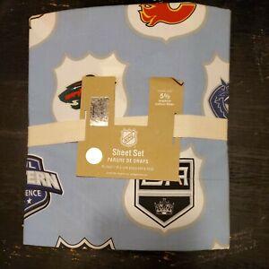 Pottery Barn Sheet Set PB Teen NHL Western Conference Blue Twin XL HOCKEY Sports
