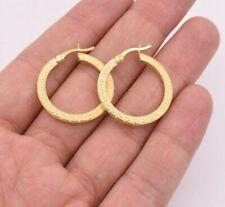 """Earrings 14K Yellow Gold Clad Silver 925 1"""" 27mm Flat Greek Key Motif Hoop"""