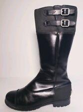 Ugg Australia Women's Black Leather Tall Sheepskin Lined Boots ! Size 7