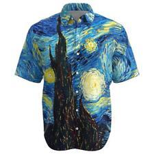 Van Gogh The Starry Night Art Painting Men Short Sleeve Button Shirt Size XS-3XL