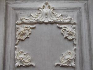 Pediment & Four corner Mouldings White Ornate French Style Decorative Furniture