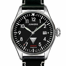 JUNKERS 6150-2 COCKPIT JU52 AUTOMATIC STAHL BLACK DIAL DATUM LEATHER 40 MM NEU