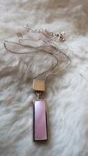 """925 Sterling Silver Pink Mother Of Pearl Bar Droplet Pendant 18"""" Chain Necklace"""