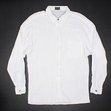 Versus Gianni Versace Hommes Chemise 38 Solide Blanc Tricot Coton Lion Bouton