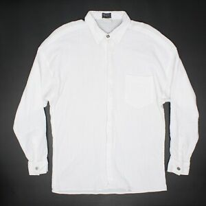 Versus Gianni Versace Mens Shirt 38 Solid White Knit Cotton Lion Button Italy