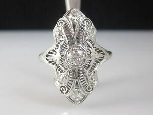 Antique Diamond Ring Art Deco Vintage Estate Old Mine Filigree 18K Platinum