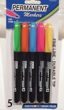 Bazic Fancy Colors Fine Tip Permanent Markers w/ Pocket Clip 5-Pack 1209