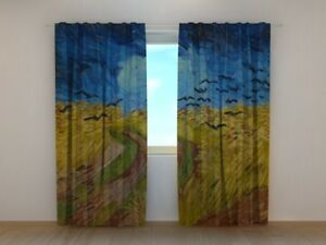 Curtain Bedroom Art Vincent van Gogh Wheatfield with Crows Printed Wellmira 3D
