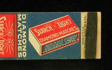 1930s Search Light Diamond Matches Box Advertising Product Picture Matchbook