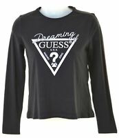 GUESS Girls Graphic Top Long Sleeve 13-14 Years Black Cotton  EA05