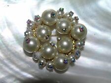 Bead with Aurora Borealis Rhinestones Circle Vintage Large & Small Faux Pearl