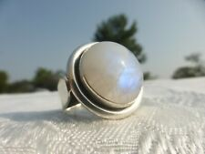 LARGE STERLING Silver MOONSTONE RING Size 8 Gorgeous detail and on