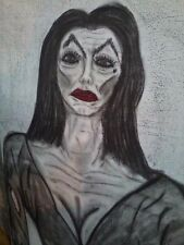 VAMPIRA 2'X3' CHARCOAL ON CANVAS ART VAMPIRE HALLOWEEN PROP ORIGINAL BY R REEVES