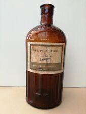 Vintage Brown Glass Pharmacy Poison Stock Bottle