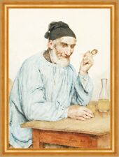 Fully Bauer at Table Albert Anker 1908 Swiss painter Whistle Deckle H a3 0614