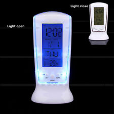 Digital Backlight LED Display Table Desk Alarm Clock Snooze Thermometer Calendar