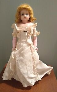 """Poured Wax Doll English 17-1/2"""" Blue Glass Eyes Antique Gorgeous Face & Dress"""
