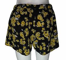 Michael Kors Women's Pull On Floral Print Shorts Black Yellow