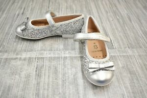 **Geox Plie 46 Glitter Mary Jane Flat, Toddler Girl's Size 8.5/EU 25, Silver NEW