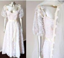 Sweetheart Wedding Veil Vintage 70s Lace Full Circle White Blush Dress Sz S