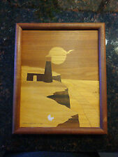 Vintage 1984 Maquetry inlaid wood wall plaque framed lighthouse artist signed