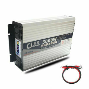 DC 12V to AC110V 5000W Pure Sine Wave Power Inverter Battery Charger LCD Display