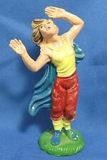 Vintage Roman Windblown Woman in Cape Storm Figurine Plastic Marked Italy 7/14