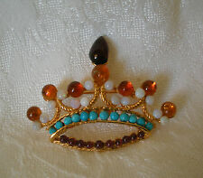 SWOBODA CROWN PIN BROOCH ~ ASSORTED GEMS ~ FIT FOR ROYALTY!