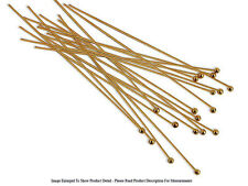"""(20) 22K Gold Plated Head Pin 3"""" Long 2mm Ball 24 Gauge Wire Beading Craft"""
