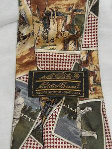 Eddie Bauer Sports Tie (NWO) All Silk / Hand Painted in ITALY Beige