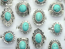 Wholesale 5x Lots Unisex Multi Style Boho Antiqued Charm Turquoise Silver Rings