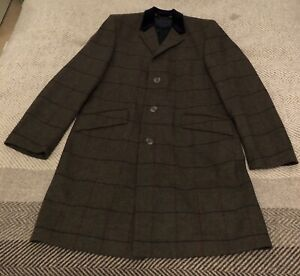 Charles Tyrwhitt Green & Brown Checked Tweed Long Wool Coat Size 42R