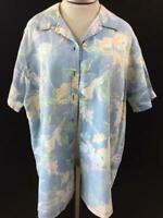 Fashion Bug top shirt size 22 24W blue green floral short sleeve button down