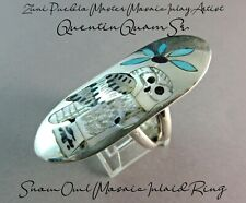 Zuni Artist-Quentin Quam Sr.-Intricate Mosaic Inlay-Snow Owl Ring-Sz.7-1/2