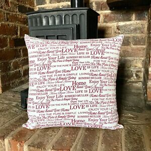 525. Handmade Home Sweet Home 100% Cotton Cushion Cover.Various sizes