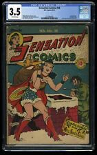 Sensation Comics #38 CGC VG- 3.5 Off White Christmas Cover!