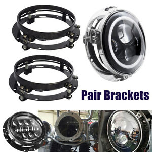 Pair Mounting Bracket for 7inch LED Headlight Round Ring Jeep Wrangler JK Harley
