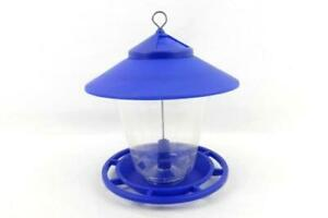 Bird Feeder Large Blue Gazebo Squirrel Proof Clear Hanging Round Outside