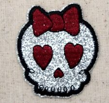 Iron On Embroidered Applique Patch Baby Girl Skull Silver Glitter Maroon Bow