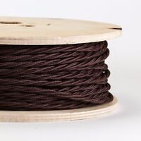 BROWN TWISTED Italian Fabric Cable for Lighting (3 core) flex sold per metre