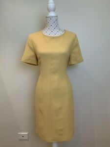 ANTHEA CRAWFORD Size 12 Wool Yellow Pencil Dress Lined Vintage Business Career