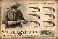 Metal Tin Sign smith wesson pistol Pub Home Vintage Retro Poster Cafe ART