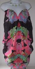 MARA HOFFMAN Silk Strapless Mini Dress Neon Poppy Black BURST Sexy Cat Walk