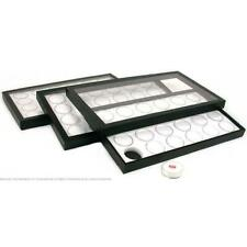 72 Gem Jars White Display Tray Travel Case Acrylic Lid