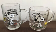 More details for rare!! vintage snoopy / peanuts glass 2 mugs set