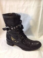 Ladies Black Ankle Leather Boots Size 5.5