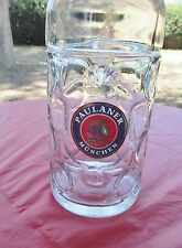 PAULANER 1L HEAVY DIMPLED GLASS GERMAN BEER STEIN MUG MUNCHEN  OKTOBERFEST
